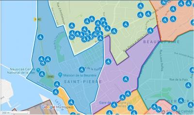 Extrait de la carte des places réservées, copié depuis le site de la ville de Boulogne