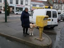Marie-Christine et son chien devant la boîte aux lettres de la poste de Bréquerecque