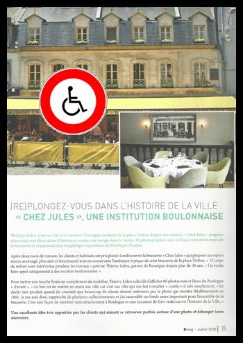 Cette photo reproduit une page de Boulogne Mag faisant la publicité des travaux de Chez Jules, avec une surcharge interdit aux handicapés