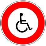 Panneau maison interdit aux handicapés